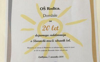 Naša šola je prejela priznanje za 20 let delovanja v okviru Slovenske mreže Zdravih šol.